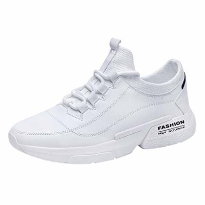 Men's Athletic Lightweight Shoes Casual Sports Running Comfort Shoes Outdoor Walking Flats Lace-Up Sneakers Size 39-46 (44, White)