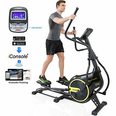 SNODE Elliptical Machine, Exercise Fitness Trainer with Digital Monitor and Pulse Rate Grips, 16 Levels Magnetic Adjustable Resistance, Front Driven&Double Orbit for Cardio Home Use Workout