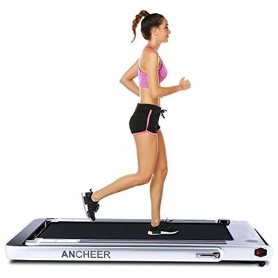 ANCHEER 2 in1 Folding Treadmill, Smart 2.25 HP Under Desk Treadmill, Electric Walking Running Machine with Bluetooth Audio Speakers, Upgraded Smart Top Folding Treadmill (Grey)