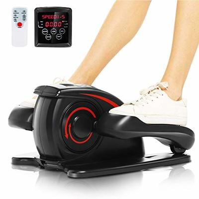 ANCHEER Desk Elliptical Trainer Machine,Under Pedal Exerciser,Mini Sitting Stepper Cycle Bike with Configuring Remote Control and Built-in Display Monitor,Quiet&Compact (Deep Black)