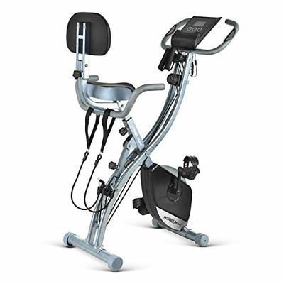 Folding Magnetic Exercise Bike, 3 in 1 Upright Recumbent Indoor Workout Bike with Arm Resistance Bands LCD Monitor (Black)
