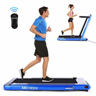 ANCHEER Folding Treadmill, Under Desk Smart Electric Treadmill with Remote Control and Bluetooth Speaker & LCD Monitor, 2 in 1 Walking Running Machine Trainer Equipment for Home Gym (Blue)