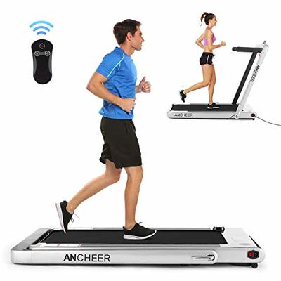 ANCHEER Folding Treadmill, Under Desk Smart Electric Treadmill with Remote Control and Bluetooth Speaker & LCD Monitor, 2 in 1 Walking Running Machine Trainer Equipment for Home Gym (Silver)