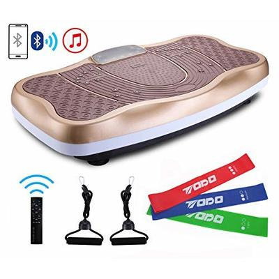 TODO Vibration Platform Power Plate Wholebody Vibrating Massager- Remote Control/Bluetooth Music/USB Connection (Gold Wave with Loops)
