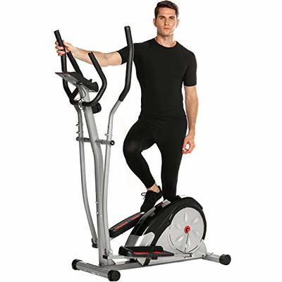ANCHEER Elliptical Machine Trainer Magnetic Smooth Quiet Driven with LCD Monitor and Pulse Rate Grips (Gray)