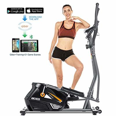 ANCHEER Elliptical Machine Elliptical Trainer Exercise Machine Magnetic Smooth Quiet Driven with LCD Monitor, Pulse and APP Control, Updated Top Elliptical Machine Trainer (Grey)
