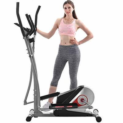 Merax Magnetic Elliptical Trainer Machine Smooth Quiet Driven with LCD Monitor for Home Use