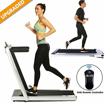2 in 1 Under Desk Folding Treadmill,Electric Motorized Portable Pad Treadmills Walking Jogging Running Exercise Fitness Machine with Remote Controller and Bluetooth Speaker (Silver)