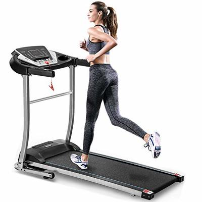 EiioX Folding Treadmill Quiet Electric Walking Running Exercise Fitness Machine with LCD Display & MP3 and Audio Auxiliary Port & Shock Absorption & 240 LB Max Weight, Black Color
