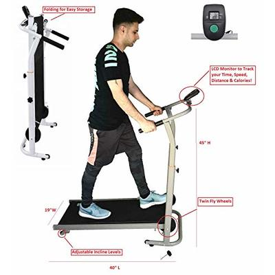 Iron Fitness Manual Treadmill for Walking Jogging Exercise Workout Cardio Adjustable Incline Levels with Twin Fly Resistance Wheels LCD Monitor