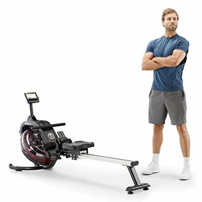 Marcy Water Rowing Machine Cardio Training Equipment with Adjustable Resistance, 300 lbs Capacity NS-6023RW