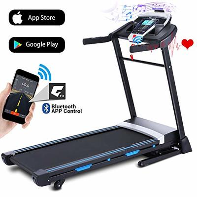 ANCHEER Folding Treadmill with Bluetooth Speaker, 3.25HP Automatic Incline Treadmill, Walking Jogging Running Machine with APP Control for Home Gym Cardio Fitness