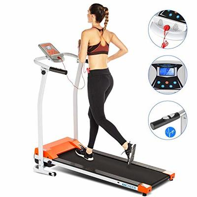 ANCHEER Treadmill, Treadmills for Home with LCD and Pulse Rate Grips Motorized Running Walking Jogging Exercise Fitness Machine Trainer Equipment for Home Gym Office (Orange)