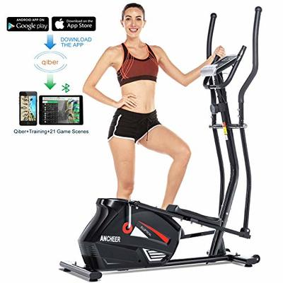 ANCHEER Elliptical Machine Elliptical Trainer Exercise Machine Magnetic Smooth Quiet Driven with LCD Monitor, Pulse and APP Control, Updated Top Elliptical Machine Trainer (Black)