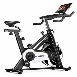 ECHANFIT Silent Magnetic Resistance Quiet Belt Drive Indoor Cycling Exercise Stationary Bike with 297lbs Max Weight and Electronic Display for Home Gym Fitness, Nero