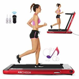 ANCHEER Folding Treadmill, Under Desk Smart Electric Treadmill with Remote Control and Bluetooth Speaker & LCD Monitor, 2 in 1 Walking Running Machine Trainer Equipment for Home Gym (Red)