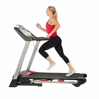 Sunny Health & Fitness Electric Folding Treadmill with LCD and Pulse Monitor, 265 LB Max Weight, Tablet Holder, Bluetooth Speakers and USB Charging – SF-T7917,Black