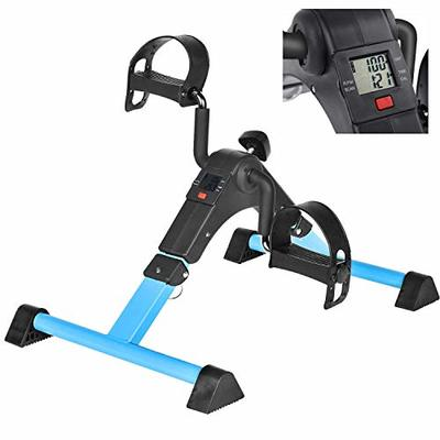 BAIJIAWEI Mini Exercise Bike Pedal Exerciser for Leg and Arm Rehab Work-Out Under Desk with LCD Monitor Bike Pedal Exerciser