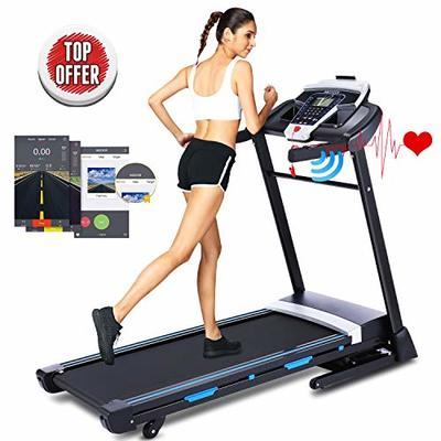 ANCHEER 3.25HP Folding Treadmill, Electric Automatic Incline Treadmill, Motorized Running Jogging Machine with APP Control (Black)