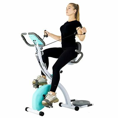 Murtisol Folding Exercise Bike Compact Foldable Stationary Bike Magnetic Resistance Control W/Twister Plate, Arm Resistance Bands, Extra Large&Adjustable Seat and Heart Monitor Home Exercise, Blue
