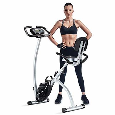 BCAN Folding Exercise Bike, Magnetic Upright Bicycle with Heart Rate, Speed, Distance, Calorie Monitor, 330LBS Support – Grey/Black 2020 Version