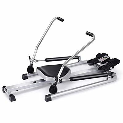 Goplus Hydraulic Rowing Machine Rower with LCD Monitor, Adjustable Resistance and Full Arm Extensions for Home Use, 250 lb Weight Capacity