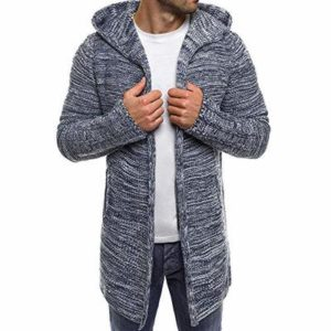 Mens Cardigan Sweater Shawl Collar Open Front Long Sleeve Knit Slim Fit Vintage Coat with Pockets (M, Gray)