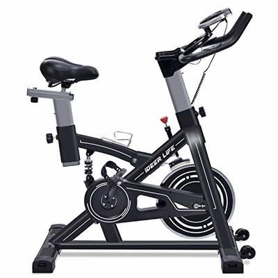 IDEER LIFE Exercise Bike Indoor Cycling Stationary Bike,Home Gym Exercise Bike Adjustable Belt Drive Exercise Cycle Bike for Indoor Cardio,w/Pulse Sensor&LCD Monitor,Max Capacity:330lb (Black09060)
