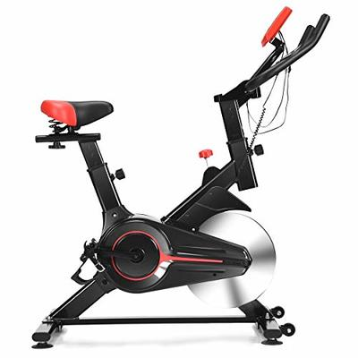 Goplus Stationary Bicycle, Indoor Cycling Bike, with Heart Rate Sensors, LCD Display, Professional Exercise Bike for Home and Gym Use (Standard)