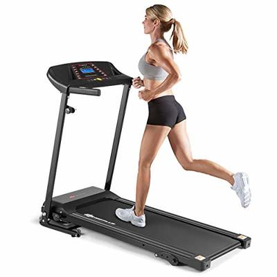 Goplus Electric Folding Treadmill, Adjustable Incline and Low Noise Design, with LCD Display and Heart Rate Sensor, Compact Running Machine for Home Use (Black)