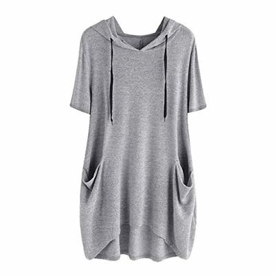Clearance! Womens Plus Size Casual Cartoon Print Hooded Tunic Top Irregular Blouse Shirts Side Pocket M-5XL (Gray-Solid, 3X-Large)
