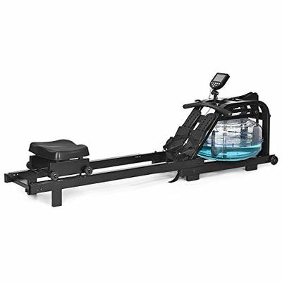 GYMAX Water Rowing Machine, Water Rower with Adjustable Resistance & LCD Display, Easy-Transportation Rower for Whole Body Exercise Cardio Training (Water Resistance)