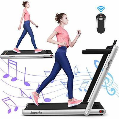 GYMAX 2 in 1 Under Desk Treadmill, 2.25HP Folding Walking Jogging Machine with Dual Display, Bluetooth Speaker & Remote Controller, Electric Motorized Treadmill for Home/Gym (Silver)