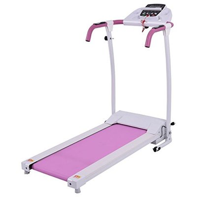 GYMAX Folding Treadmill, Electric Motorized Walking Running Machine with Device Holder for Cardio Exercise, Home Office Workout (Pink)