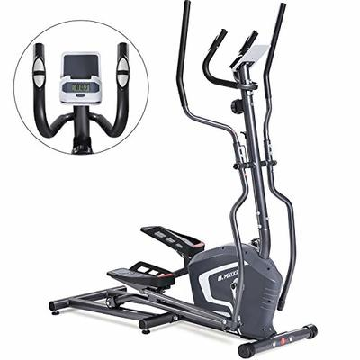 MaxKare Magnetic Elliptical Machine Trainer Smooth Quiet Driven with Front Flywheel/LCD Monitor/Dual Handles for Home Use