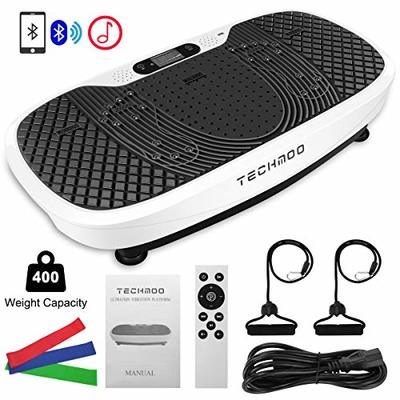 TECHMOO 3D Vibration Platform Exercise Machine Whole Body Workout Vibration Fitness Platform Home Exercise Training Losing Toning Weight Equipment with Remote Control Resistance Bands