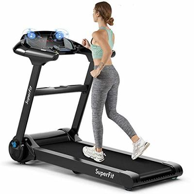 Goplus Folding Treadmill, 2.25HP Electric Treadmill, Motorized Power Exercise Fitness Running Machine with LED Touch Display, Bluetooth Speaker, Pulse Monitor, for Home/Gym/Office (Black)
