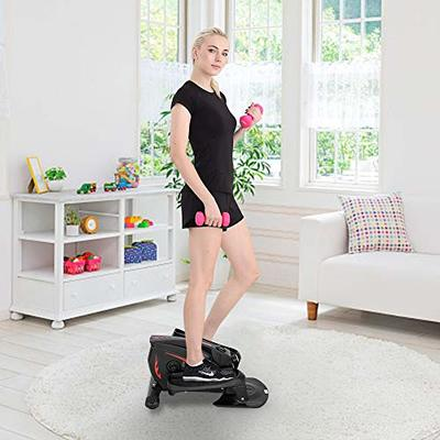 SSLine Elliptical Machines for Home Office Use Under Desk/Stand up Elliptical Trainer with LCD Monitor Mini Exercise Bike Compact Strider Foot Leg Pedal Exerciser Stepper for Small Space