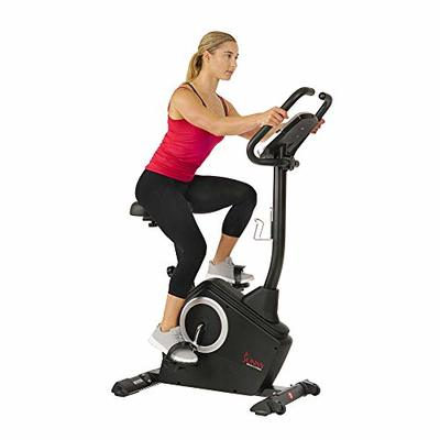 Sunny Health & Fitness Upright Exercise Bike with Electromagnetic Resistance, Device Holder, Programmable Monitor and Pulse Rate Monitoring – SF-B2883 (SF-B2883)