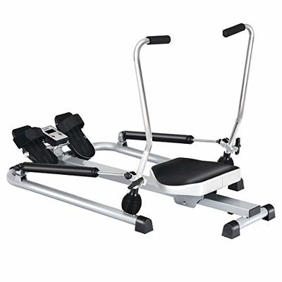 Compact Rowing Machine Rower With Double Adjustable Hydraulic Resistance Fully Padded Seat And Large Anti-slip Pivoting Pedals With Straps Great For Home Gym Use Full Body Fitness Exercise Equipment