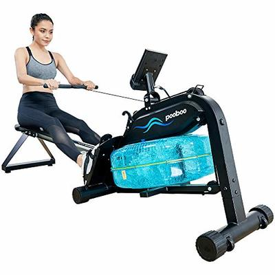 pooboo Water Rowing Machine Foldable Rower Exercise Equipment for Home Use with Full Arm Extensions Adjustable Resistance and Tablet Holder