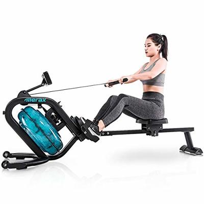 Merax Water Rowing Machine – Fitness Indoor Water Rower with LCD Monitor Home Gym Equipment (Black)