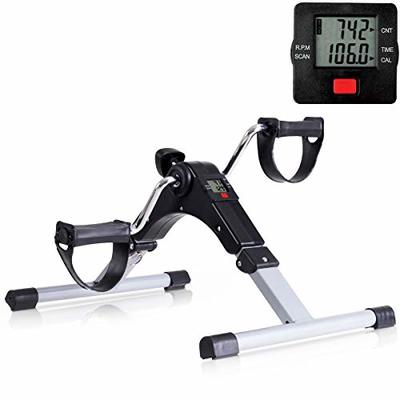 Goplus Folding Pedal Exerciser, Adjustable Resistance Mini Exercise Bike Lightweight Indoor Foot Peddler Desk Bike with Electronic Display for Arms and Legs (Black with LCD Display)