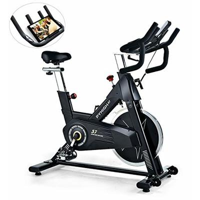PYHIGHIndoor Cycling Bike-48lbs Flywheel Belt Drive Stationary Bicycle ExerciseBikes with LCD Monitor for Home Cardio Workout BikeTraining- Black