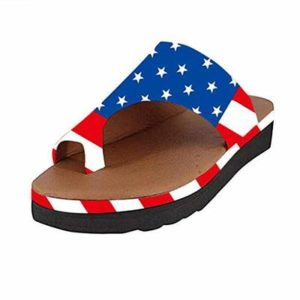 Womens Wedges Flip Flop Summer Fashion Flag Printed Open Toe Soft Sole Sandals Non-Slip Bathroom Household Slippers Blue