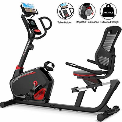 HARISON Magnetic Recumbent Exercise Bike Stationary for Seniors 350 LBS Capacity with 14 Level Resistance, iPad Holder, Pulse, RPM, Adjustable Seat and Transport Wheels