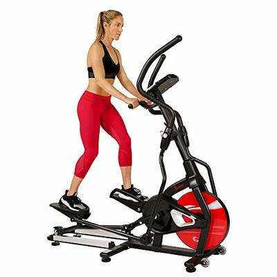 Sunny Health & Fitness Magnetic Elliptical Trainer Machine w/ Tablet Holder, LCD Monitor, 265 Max Weight and Pulse Monitor – Stride Zone – SF-E3865,Black