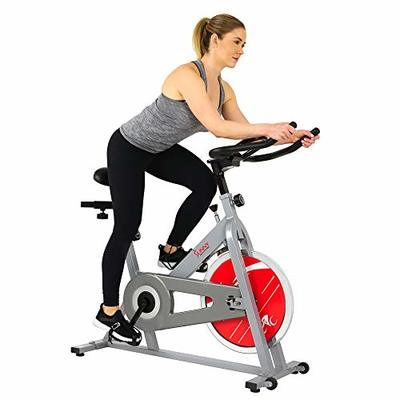 Sunny Health & Fitness Spin Bike Indoor Cycling Exercise Spinning Bike, Silver (SF-B1001S)