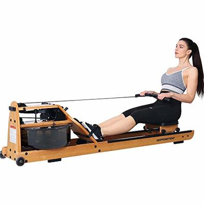 gorowingo Water Rower Rowing Machine,Wooden Indoor Row Machine with LCD Monitor for Home Full Body Exercise