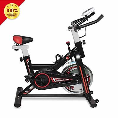 LTTROMAT Exercise Bike Indoor Cycling Bike Spinning Bicycle Stationary Bike With LCD Display And Heart Rate Adjustable For Home Office Cardio Workout Training For Home Fitness Bicycle Equipment, Black Red
